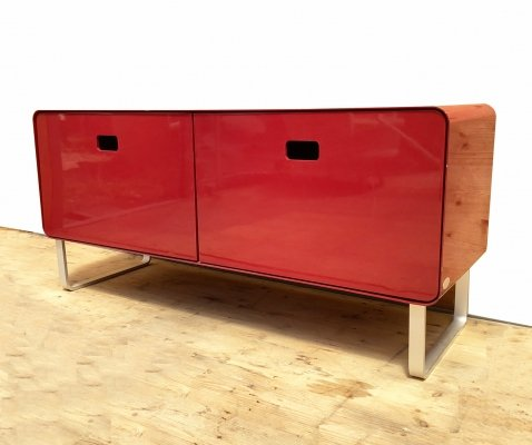 Red laquered Metal Sideboard by Müller Möbelfabrikation, 1990s