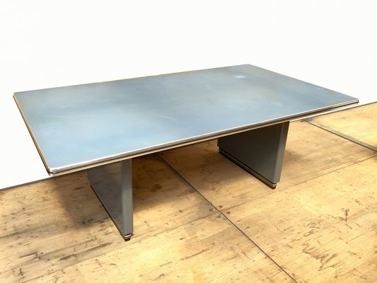 Blue gray Metal Writing Table / Desk by Müller Möbelfabrikation, 1990s