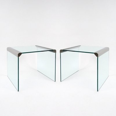 Set of 2 glass & steel tables by Gallotti&Radice, 1970s