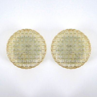 Set of 2 Belgian glass wall lights, 1960s