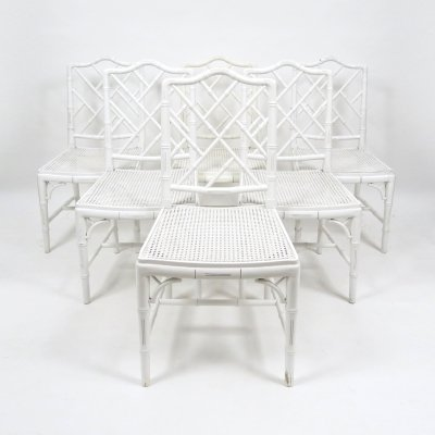 Set of 6 faux bamboo chairs, 1970s