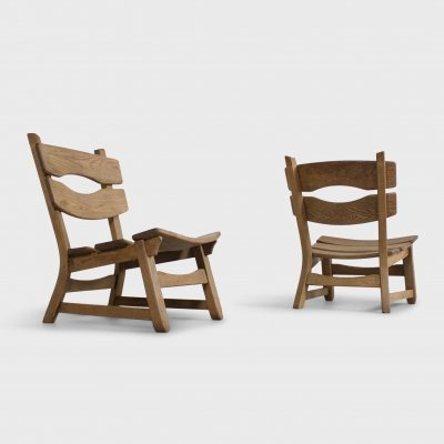 Pair of French Solid Oak Brutalist Lounge Chairs, 1960s