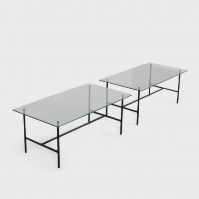 Pair of Mid-Century Metal & Glass Tables by Pierre Guariche