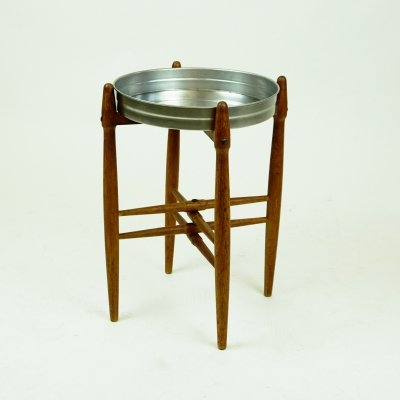 Scandinavian Modern Poul Hundevad Teak Side Table with metal Tray