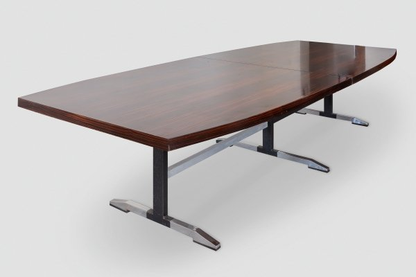 Large Boat Shaped Conference Table by De Coene, Belgium 1960s