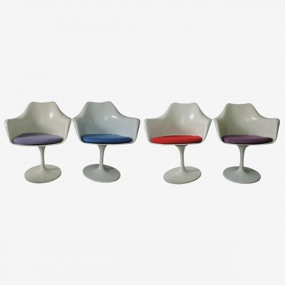 Set of 4 Vintage Tulip Armchairs with Coloured Seats, 1970s
