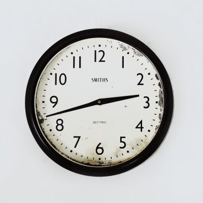 Smiths Sectric Converted Quartz Bakelite Wall Clock, 1930s