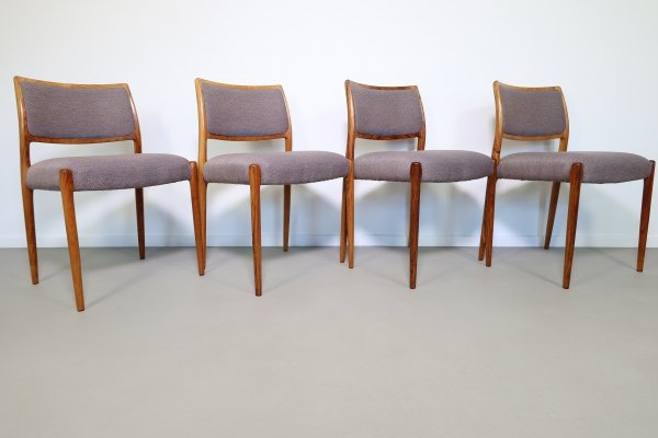Set of 4 rosewood No 80 dining chairs by Niels Otto Møller, 1968