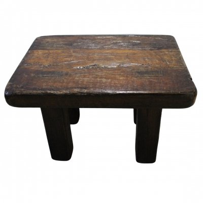 Mid-Century Brutalist robust oak side table, 1960s