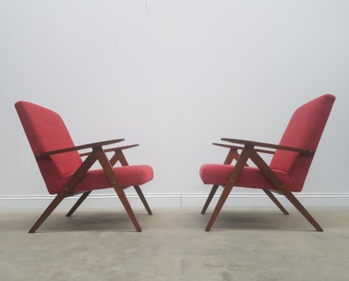 Pair of Mid Century Easy Chairs Model B - 310 Var in Red