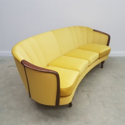French Four Seat Curved Sofa in Luxury Golden Velvet, 1950s