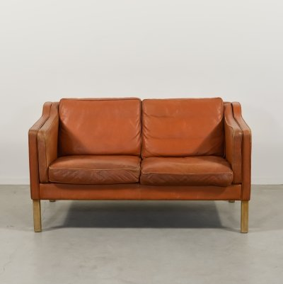 1970's Vintage Danish cognac leather Model 2212 sofa by 'Thams'