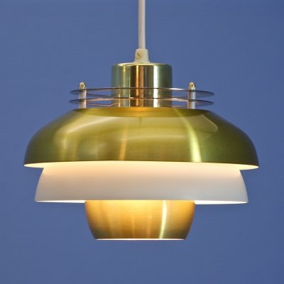 Danish hanging lamp in brass with white accent, 1970s