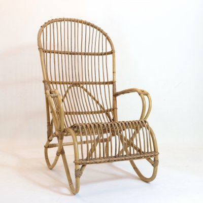 Large bamboo lounge chair, 60's-70's
