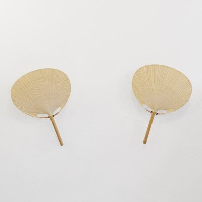 Pair of Uchiwa wall lamps by Ingo Maurer, 1970s