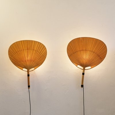 Pair of large Uchiwa wall lamps by Ingo Maurer, 1970s