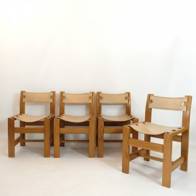 Set of 4 chairs by Maison Regain in solid elm & leather, 1970s