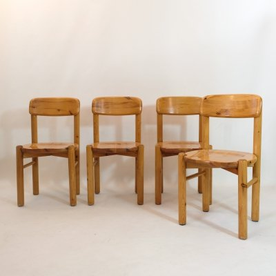 Set of 4 chairs by Rainer Daumiller in solid wood, 1970s