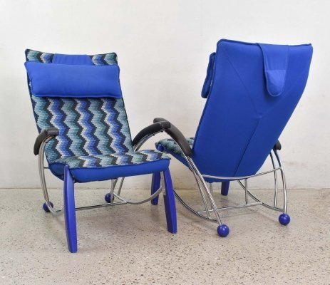1980's Blue Zig Zag Memphis Style Armchairs