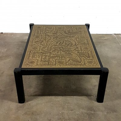 Etched brass Brutalist coffee table with Apollo 11 decoration, 1970s