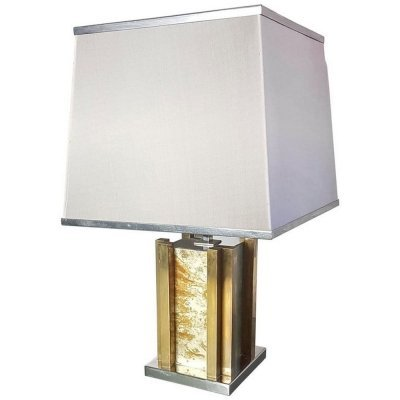 Romeo Rega Table Lamp in Brass & Chrome, Italy 1970s
