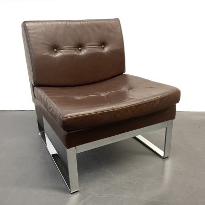 Brown Leather & chromed Steel Easy Chair by Röder, Germany 1980s
