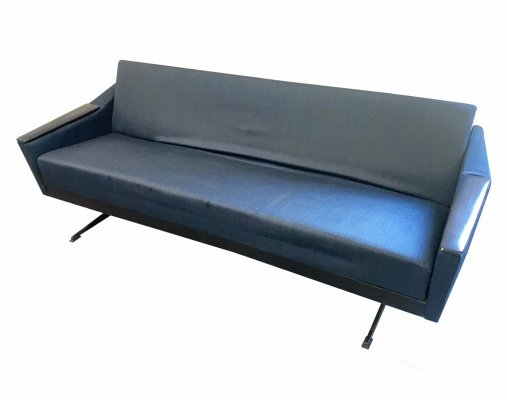 Vintage Mid Century Daybed in grey blue fabric, Germany 1950s
