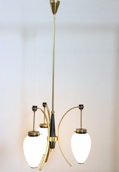 20th Century Enamel & Brass Italian Design Chandelier, 1960s