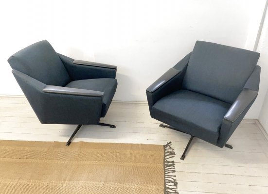Pair of Vintage Swivel Arm Chairs in grey blue Fabric, 1950s