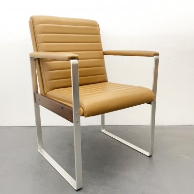 Conference Armchair in cognac Leather & Aluminium, 1970s