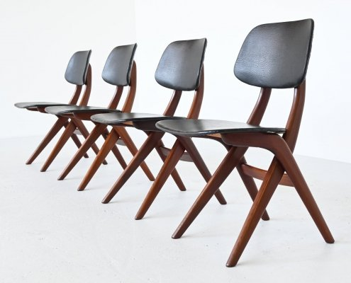 Louis van Teeffelen Pelican dining chairs by Webe, The Netherlands 1960