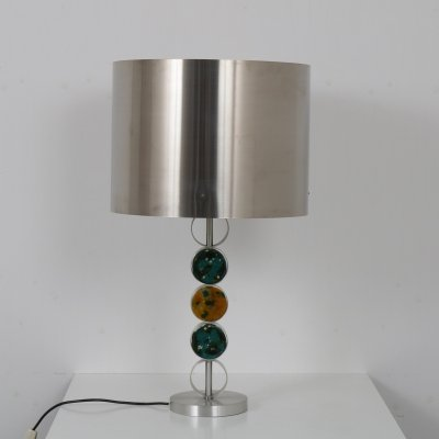 Chrome & Glass 'D-2095' Table Lamp by Raak, Netherlands 1970