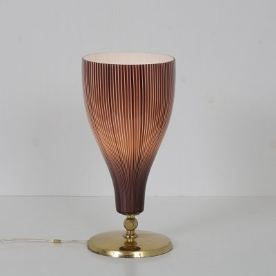 Italian Table Lamp in Brass & Glass by Venini, Italy 1950