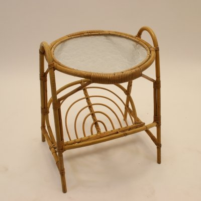Round Bamboo rattan table with storage rack & glass top