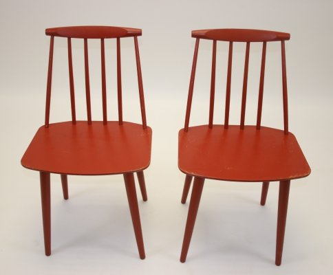 Pair of J77 chairs by Folke Palsson for FDB Mobler, 1960s
