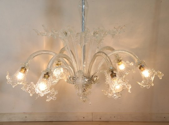 20th Century Italian Transparent Murano Glass Chandelier