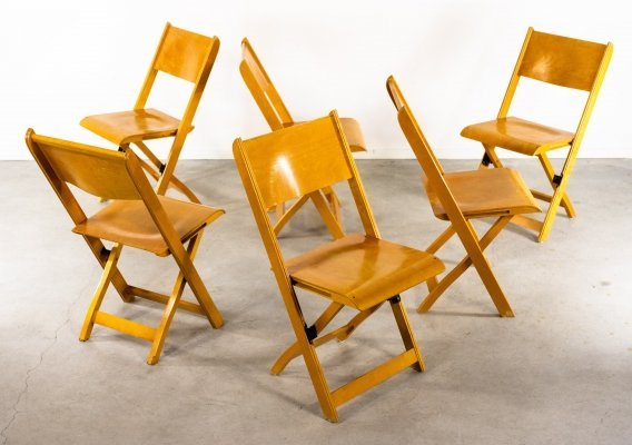 Scandinavian design set of 6 foldable chairs, 1960's