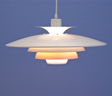 Danish hanging lamp in white with terra orange accent by Jeka Metaltryk, 1970s