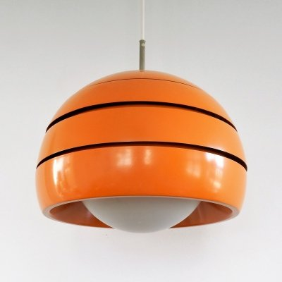 Vintage orange metal & glass pendant lamp, 1970's