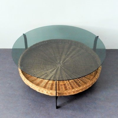 Coffee table with a metal frame, wicker basket & glass top, The Netherlands 1970s