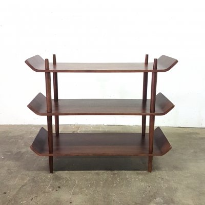 Mid century teak plywood 'stokkenkast' with bent ends