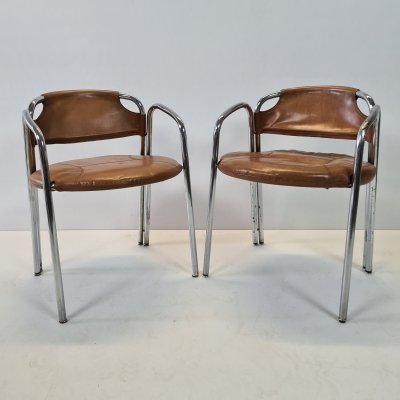 Pair of Italian Mid-Century chrome tube frame chairs with cognac leather upholstery, 1960s