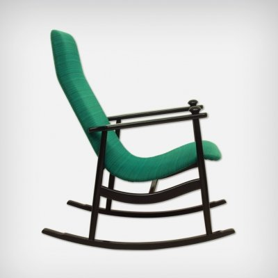 Black & Turquoise Rocking Chair, 1960s