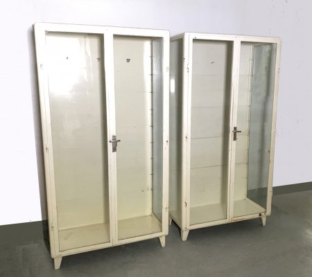 Pair of Industrial Design Medicine Display Cabinets in Metal, 1950s
