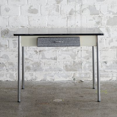 Vintage kitchen-table with synthetic resin board in black & white, 1960s