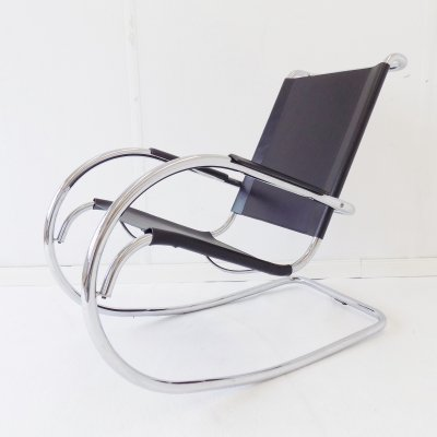 Fasem Rocking Chair in Chrome & Leather, 1960s