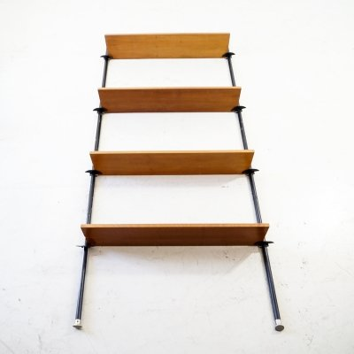 Original telescopic shelving unit with 5 wooden shelves
