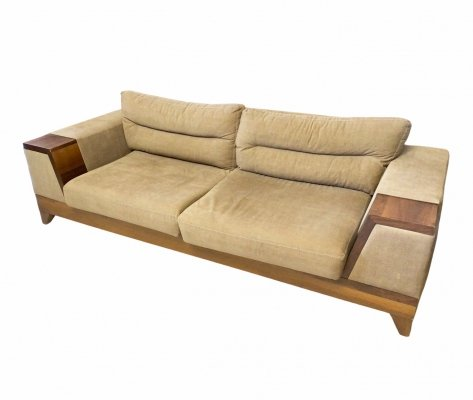 Art Deco Sofa / Couch with beige fabric Cover, France 1930s