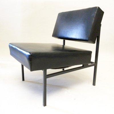 Black Faux Leather Easy Chair with Steel Frame, Germany 1970s
