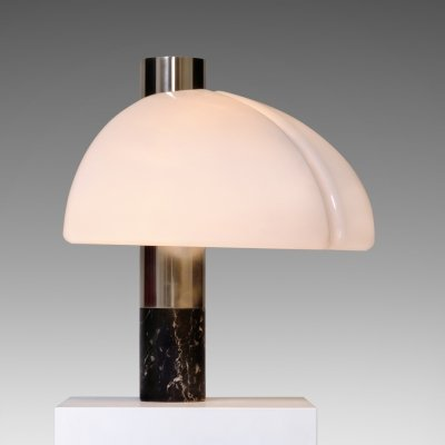 Sergio Mazza & Giuliana Gramigna Table lamp in stainless steel & marble for Quattrifolio, 1970s